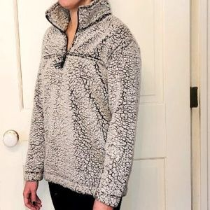 Cozy White/Gray Quarter Zip Jacket
